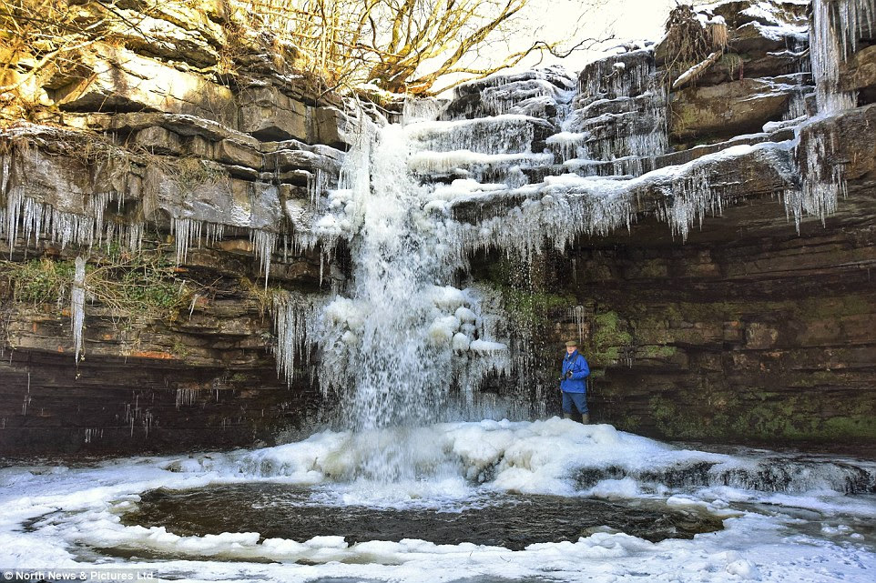 Icicles: Temperatures in Middleton-in-Teesdale, close to Summerhill Force, struggled to get above freezing today with a maximum of 2C