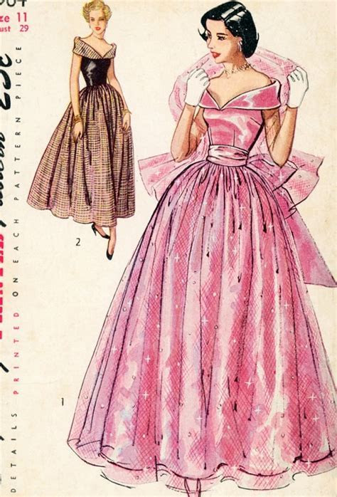 1940s Evening Dress Pattern Simplicity 2964 By