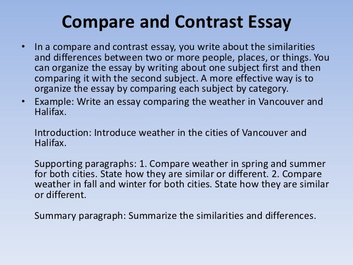 how to write a compare contrast essay example