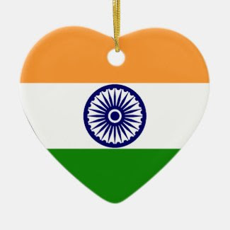 India Flag Heart Christmas Tree Ornaments