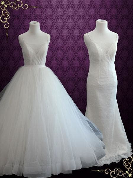 Simple 2 Piece Convertible Ball Gown Wedding Dress with