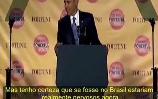 Legenda que aparece em português com a tradução errada do que dizia Obama