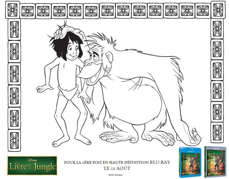Coloriage Livre De La Jungle Mowgli Et Le Roi Louie 3