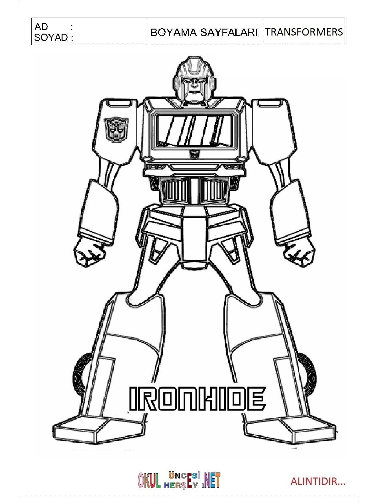 Transformers Boyama Sayfaları