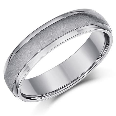 5mm Titanium Matt & Polished Wedding Ring Band   Titanium