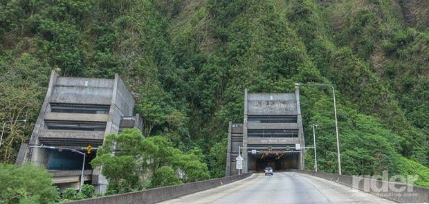 The grand Tetsuo Harano Tunnel cuts through the island's defining mountain range.
