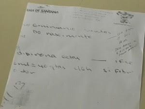 Receita indicava 40 gotas de dipirona (Foto: Reprodução / TV Bahia)