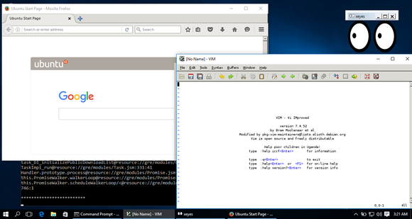 Windows 10 running Linux desktop applications.