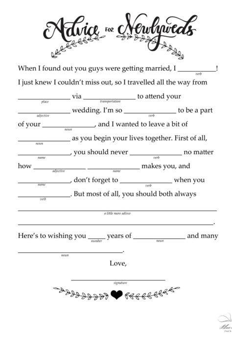 Free Printable Wedding Mad Libs   POPSUGAR Smart Living