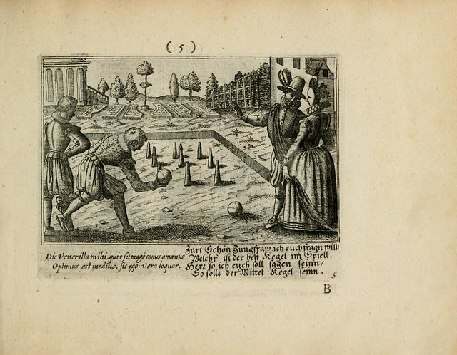 engraved scene of Renaissance-era game of bocce or bowls