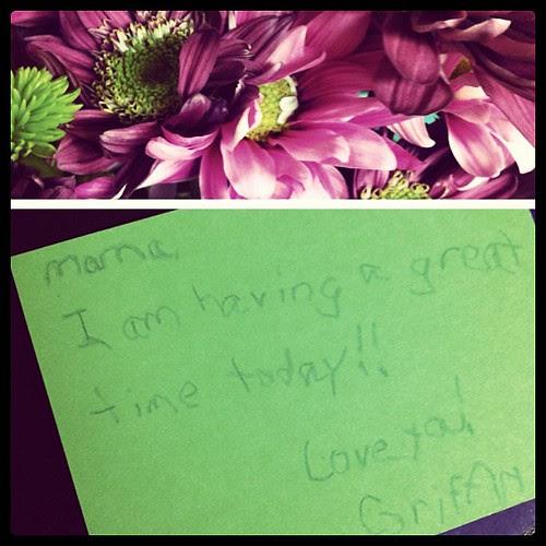 flowers & a sweet note from my boy. melt my heart.