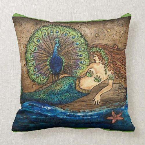 Mermaid and Peacock Toss Pillow mojo_throwpillow
