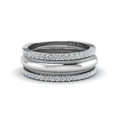 Antique Diamond Stack Wedding Band In 14K White Gold