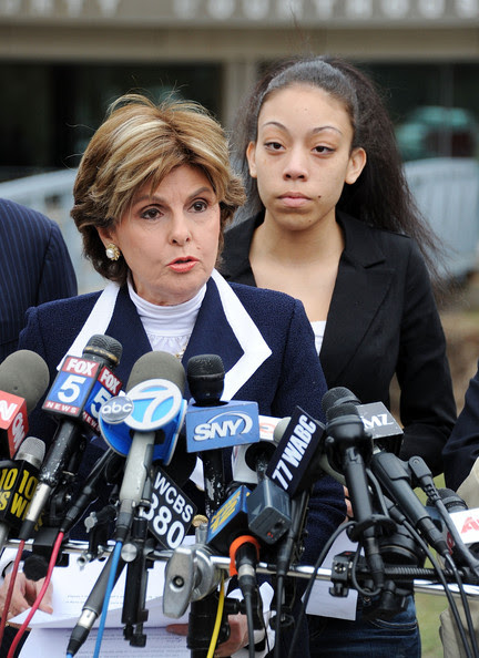 Christina Fierro Attorney Gloria Allred (L) speaks as defendant Christina Fierro stands by during a presser following the sentencing of former professional football player Lawrence Taylor at Rockland County Courthouse on March 22, 2011 in New City, New York. Lawrence Taylor was given six years' probation for an encounter with Christina Fierro, an underage prostitute.