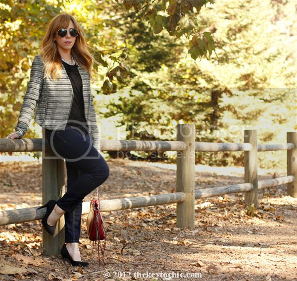 Mossimo zippered tweed jacket, Mossimo skinny jeans, Rebecca Minkoff Swing bag, LA fashion blog
