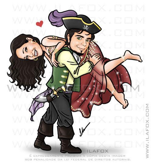Caricatura casal, vestido de pirata, vestida de odalisca, noivo carregando noiva nas costas, by ila fox