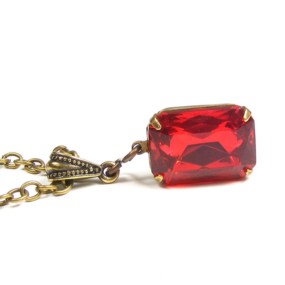 Vintage Red Swarovski Crystal Necklace by Blucha Jewels