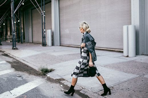 Le Fashion Blog Denim Jacket Plaid Twin Set Black Boots Via Happily Grey