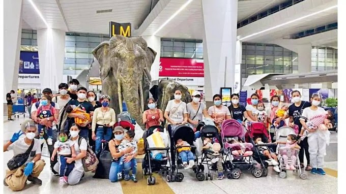 Stuck in India for up to a year, 11 Filipino kids and kin return home