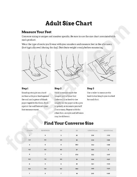 adult size chart feet converse sizing printable