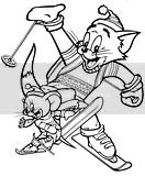 Tom And Jerry coloring pages of the cat and mouse skiing together!