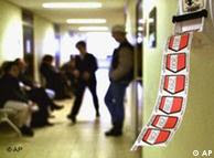 Jobless wait in line at a German job center
