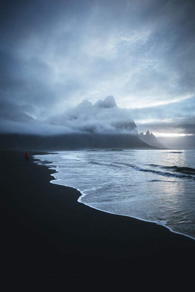 Wallpaper Lonely Man Walking Beach Ocean Dark Clouds Mountain Images, Photos, Reviews