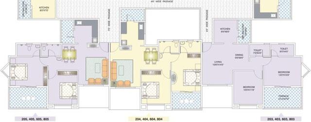 Nirman Viva D Building Even Floors Available Front View - Club House Swimming Pool View - 2 BHK Flats D203, D204, D205, D403, D404, D405