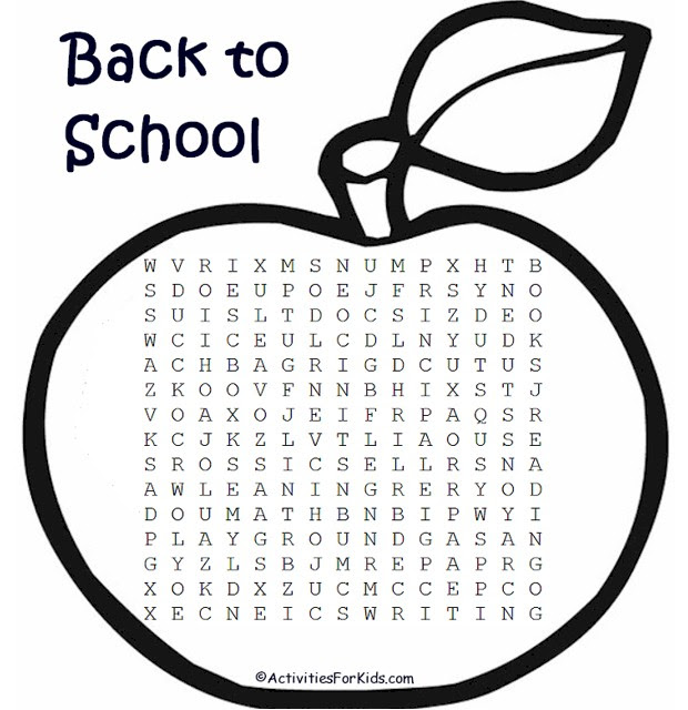 Back to School Word Search – Activities For Kids
