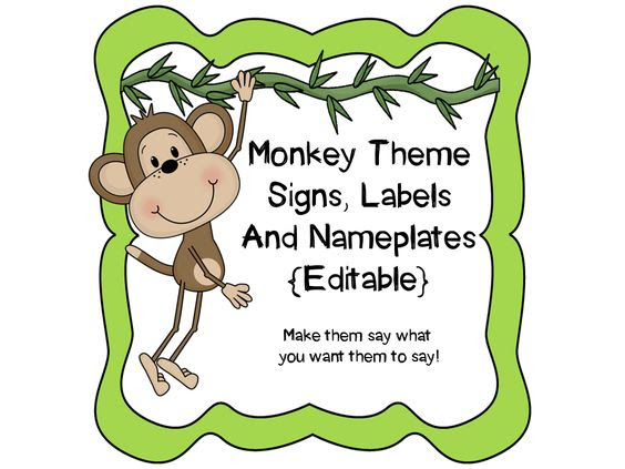 Monkey Theme Signs, Binder Covers, Labels and Nameplates {Editable ...
