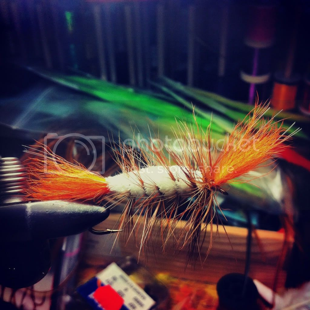 A spun deerhair dryfly called a bomber - used to fish for Atlantic Salmon