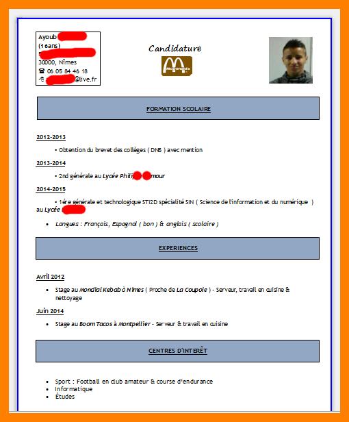 Exemple De Cv Pour Travailler Au Mcdonald