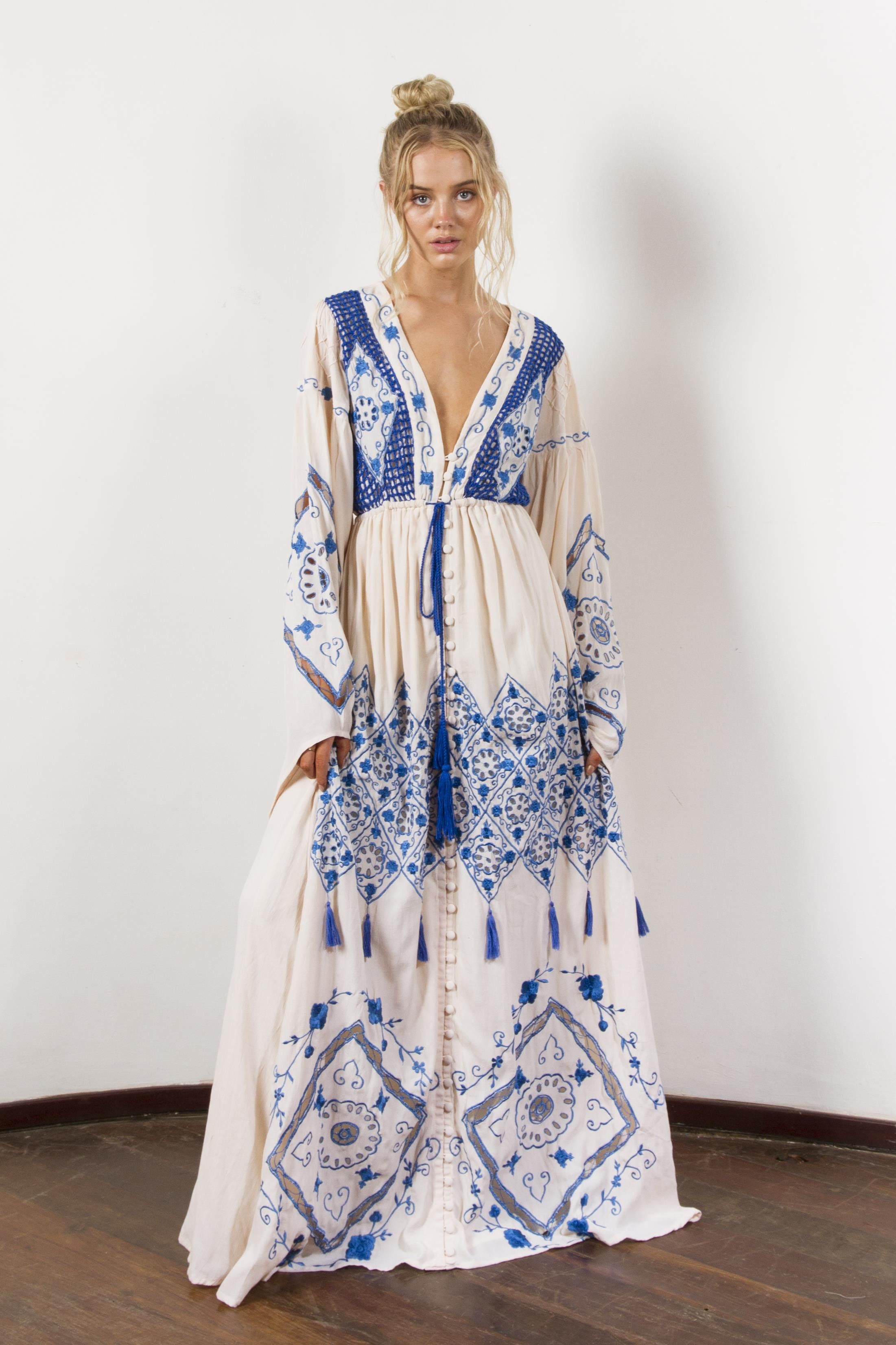 """strawberry fields"" women's embroidered gown  royal blue"