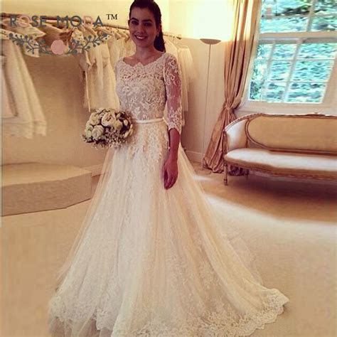 Three Quarter Sleeve Chantilly Lace A Line Wedding Dress
