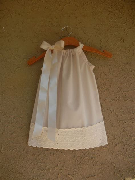 White or Ivory Pillowcase Dress with Eyelet Lace   sizes