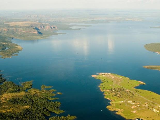 Reservatório atinge uma área de 427 km² nos municípios de Chapada dos Guimarães e Nova Brasilândia (Foto: Marcos Bergamasco/Secom-MT)