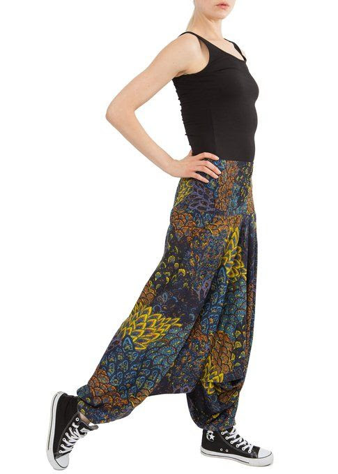 Peacock Print 2 in 1 Harem Pants Jumpsuit at Amazon Women's Clothing store