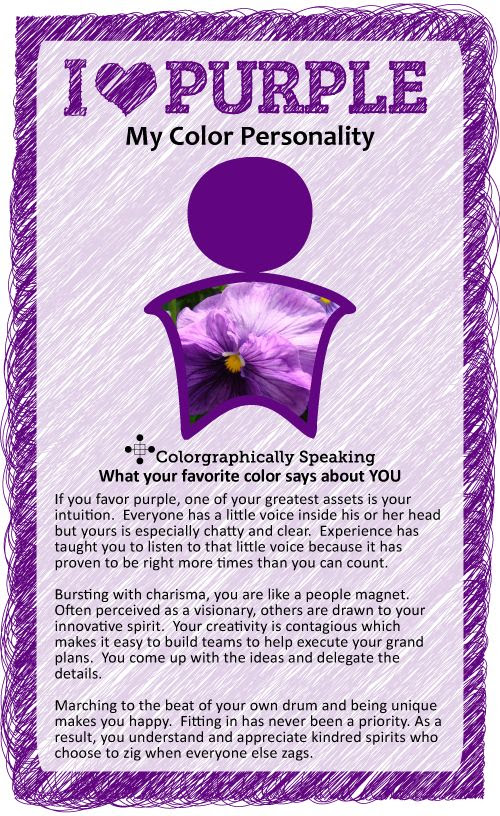 Purple:  ♥ #Purple? Find out what your favorite color says about you in the I ♥ Color series from The Land of Color.