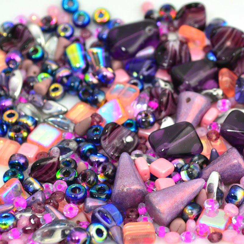 s45974 BeadFX Bead Mix -  Czech Glass Mix - Plums n Peaches (Pack)
