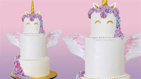 3 Tier Buttercream UNICORN CAKE with edible WINGS   Free