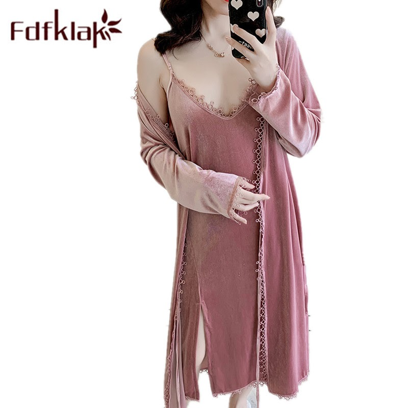 TOP !!  Fdfklak Velvet Lounge Wear Set 2 Pieces Women's Long Gowns Lingerie Sexy Shirts And Bathrobes Women