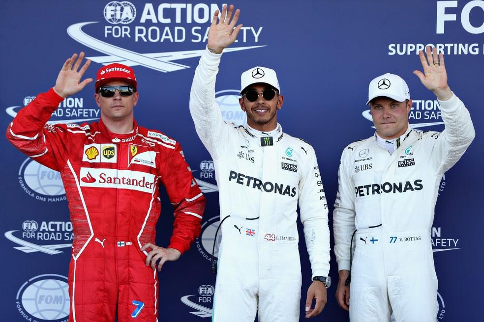Os três primeiros colocados no grid para o GP do Azerbaijão (Foto: Getty Images)