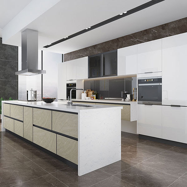 Oppein Kitchen In Africa High Gloss White Lacquer Kitchen With Island Op19 L06