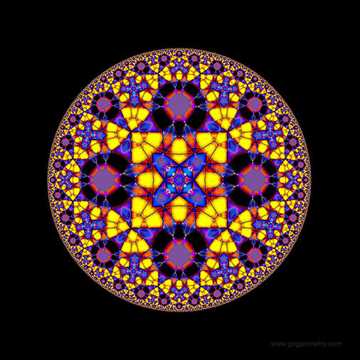 Geometric Art of problem 1282: Hyperbolic Kaleidoscope using iPad Apps