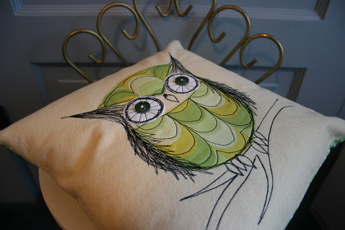 sketch stitch owl pillow #2