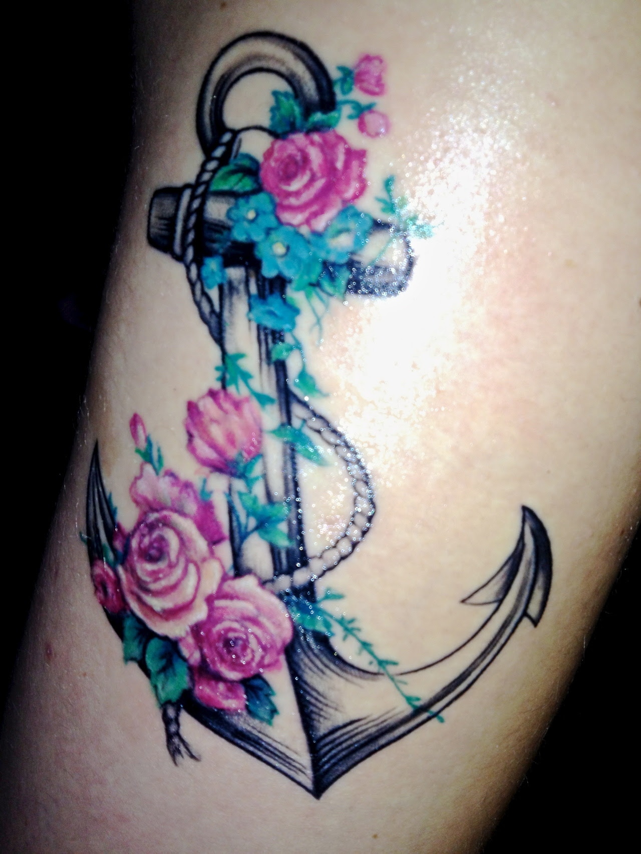 Color Flowers And Anchor Tattoo