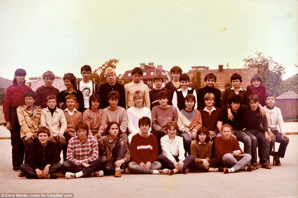 Among friends: Melania's class in 1984 at the local high school. She is third from the left of the front row. 'She always had higher goals than the rest of us and more ambition. Her goal was to leave Sevnica for Ljubljana and to go abroad,' her friend Nena Bedek says