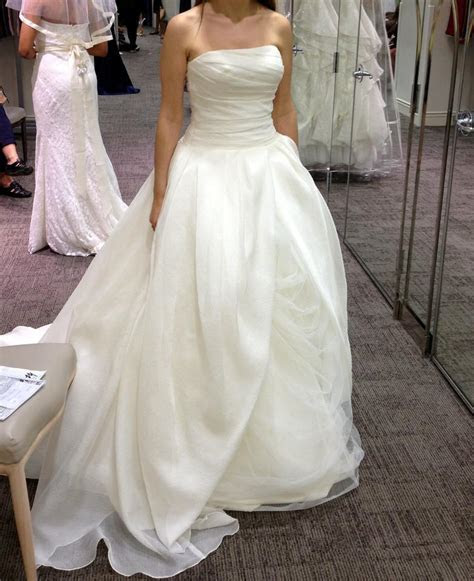 Vera Wang Organza Gown With Draped Bodice And Tulle Skirt