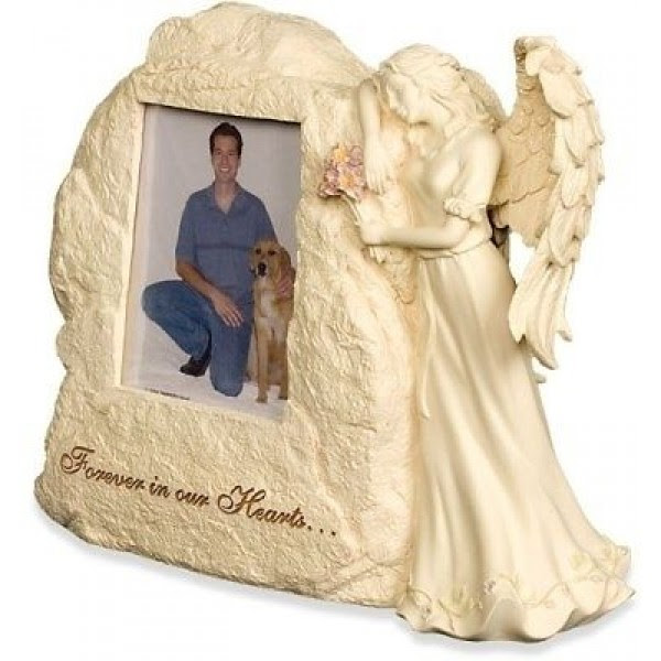 Rock Urn With Angel Forever In Our Hearts Photo Frame Weatherproof