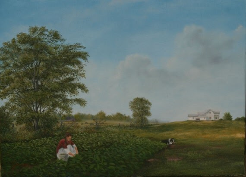 Fine Art Print of Original Painting Working on the Farm